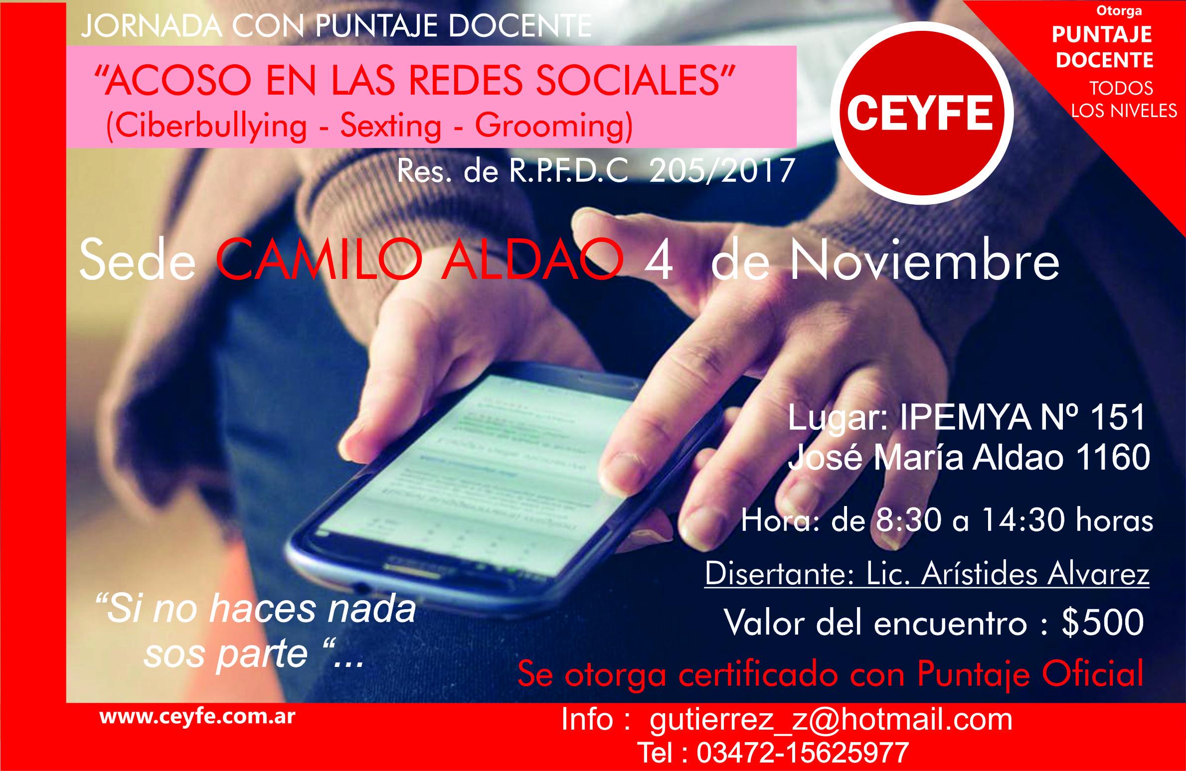 Jornada con puntaje oficial «Acoso en las redes sociales» en Sedes: Camilo Aldao y Villa Maria