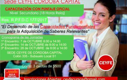 Jornada sobre «El desarrollo de las capacidades fundamentales para la Adquisicion de Saberes Relevantes»Sede: Córdoba Capital